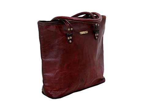 - 31xDKNUPclL - Handmade Genuine Leather Woman Tote Bag Large Ladies Carry All Bag – Free Surprise Gift