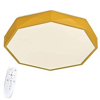 SAILUN 40W LED Dimmbar Macaron moderne Deckenleuchte, Gelb einfache Achteck Deckenlampe Effektlampe kinderzimmerlampe Schlafzimmerlampe Flur Wohnzimmer Küche Lampe (40W Dimmbar,Gelb)