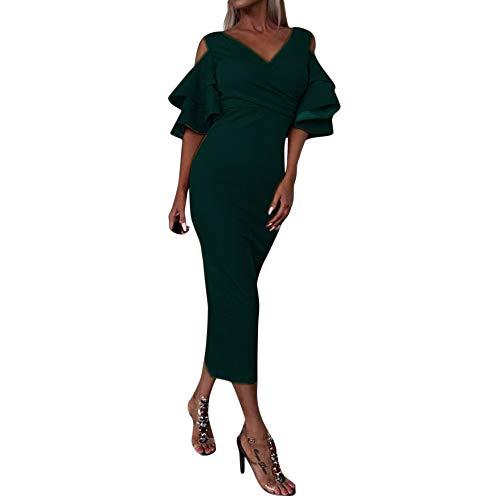 FRAUIT langes Kleid Damen Frauen Mädchen Reizvolles Hüllen-Kleid tiefes V-kaltes Schulter-Schmetterlings-Hülsen Dot gedruckt Kleid Cocktail Abendkleid Kleid Lange Mantel -