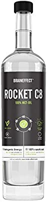 BRAINEFFECT Rocket MCT Oil C8 | High Quality caprylic Acid Oil | 100% Coconut Oil | Ideal Ketones for Bulletproof Coffee, Smoothies, Dressings & Paleo Diet | 500ml Glass Bottle | Tasteless | Vegan from Whitewall GmbH