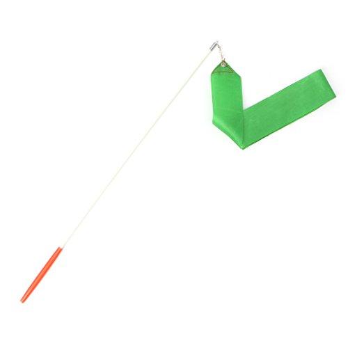 Haorw 2 Stück Tanzband Stick Ribbon Gym Bänder Tanzen Streamer Twirling Ribbon mit Zauberstab (Grün)