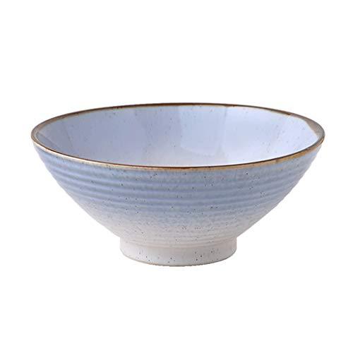 Sangeshitou Recipiente de cerámica Pendiente Creativo Vajilla Ensalada Cuenco Hogar Fideos Instantáneos Cuenco Sopa Tazón Cuenco Negro Regalo (Color : Gray, Size : 20.5CM(8IN))