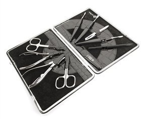 Luxury KROKO Womens Manicure Set in Black Leather...