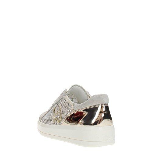 LIU JO Sneakers B18019T2030/10602 rose con strass pieni fdo a cassetta in pelle e camoscio, nuova collezione primavera estate 2018 White