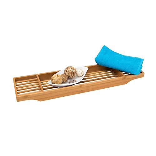 Relaxdays Badewannenablage Bambus H x B x T: ca. 5,5 x 70 x 16,5 cm Wannenbrücke mit 3 praktischen Fächern zur Ablage von Seife, Creme als dekorativer Badewannenaufsatz aus hochwertigem Holz, natur