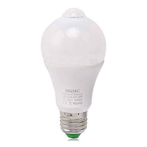 LED Glühbirne mit Bewegungsmelder, E27 Smart licht Infrarot sensor 10W ersetzt 100W Sensor Lampe Energiesparlampe für Treppen, Garten, Balkon, Garage, Flur (Kaltweiß)6000k