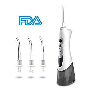 MOULEI Portable Dental Water Flosser -Professional Cordless Oral Irrigator IPX7 Waterproof 3 Modes USB Rechargeable with 4 Jet Tips for Braces and Teeth Whitening for Home and Travel