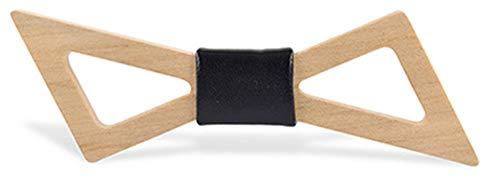 LILILICX Fliege Oblique Spiked Durchbrochene hölzerne Fliege Herrenanzug Hochzeitsfest Partei Bogen, Ahorn schwarz Leder -