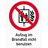 Aufkleber Aufzug im Brandfall nicht benutzen Symbol gm. ASR A1.3/ BGV A8, Folie selbstklebend 18,5 x 13,1cm (Kombischild, Verbotsschild, Fahrstuhl) praxisbewährt, wetterfest