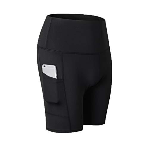 QIMANZI Sporthose Damen Hohe Taille Yoga Shorts Capri Fitness Dünne Hosen Schnell Trocknende Trainieren Mit Taschen Elastische Tanzen Workout Leggings(A Schwarz,2XL) -