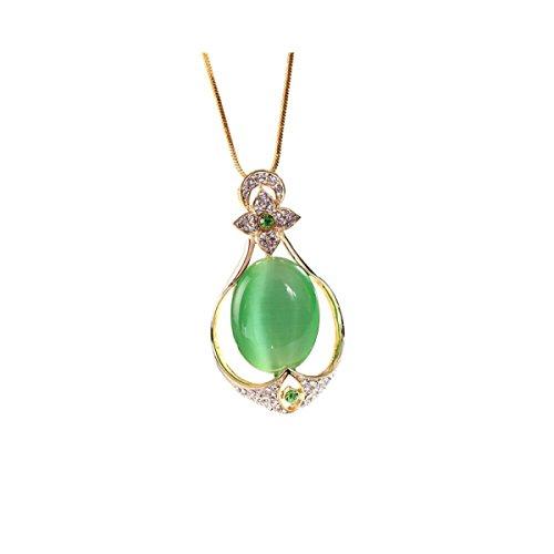 NIUWJ Frauen Fashion Wild Lange Abschnitt Pullover Kette Opal Künstliche Kristall Kostüme,Olive (Einfach Ein Kostüm Olive)