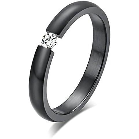 Bishilin Acciaio Inossidabile 3MM Anello Fidanzamento Anelli Promessa Matrimonio per Donna