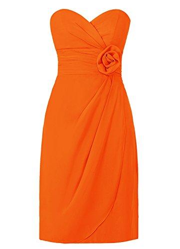 Dresstells, robe courte de demoiselle d'honneur avec fleur col en cœur Orange