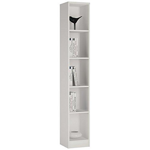 P&N Homewares Crescita hoch schmal Bücherregal in weiß | Bücherregal | Wohnzimmer Möbel | 30cm breit (Hohe Bücherregal)
