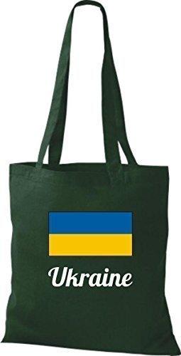 ShirtInStyle Stoffbeutel Baumwolltasche Länderjute Ukraine Ukraine Farbe Hellbraun gruen