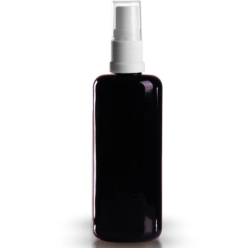 5 x Miron Violettglas 100ml / Violettglasflasche inkl. Pumpzerstäuber weiss / Sprühkopf DIN 18 mit transparenter Schutzkappe