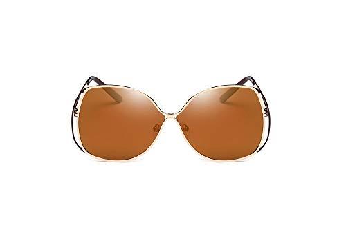 LKVNHP Butterfly Design Übergroße Sonnenbrille Frau Metallrahmen Spektakel Photochromic Uv400 Schutz Gespiegelt SonnenbrilleBraun Objektiv