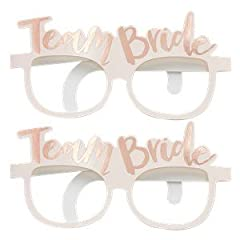 Idea Regalo - Team Bride Pink & Rose Gold Hen Party Novelty Glasses