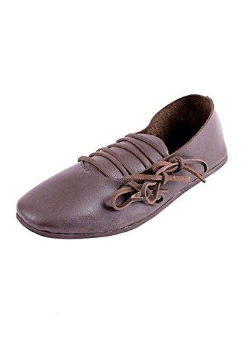 e Schnürschuhe aus Leder, dunkelbraun - Mittelalter - LARP - Wikinger Schuhe Größe 36-46 (46) (Halloween Kostüme In London)