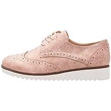 Anna Field Damen Schnürschuhe im Budapester Stil - Oxford Schuhe mit  Metallic Finish - Feminine Brogues