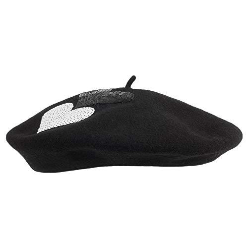 Laulhère Héritage par Hats Brigitte Sequin Heart Merino Wool Beret 1-Size 240ae35db10d
