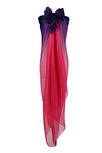 PB-SOAR Mode Damen Farbverlauf Sarong Pareo Strandtuch Wickelrock Wickeltuch Schal Halstuch Multifunktion 180x140cm (Lila+Pink)