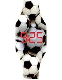 Orologio digitale LED per le ragazze, bambini e ragazzi, orologio da polso, in morbido silicone, un elegante regalo, Pallone da calcio, Kiddus ki10210