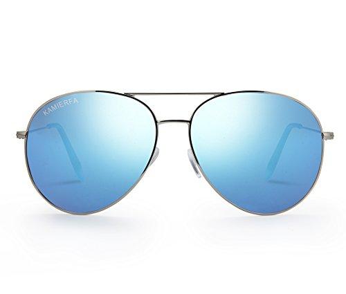 KAMIERFA Damen Sonnenbrille Fliegerbrille Pornobrille Klassich Stylisch Reflektierende Spiegel Blau