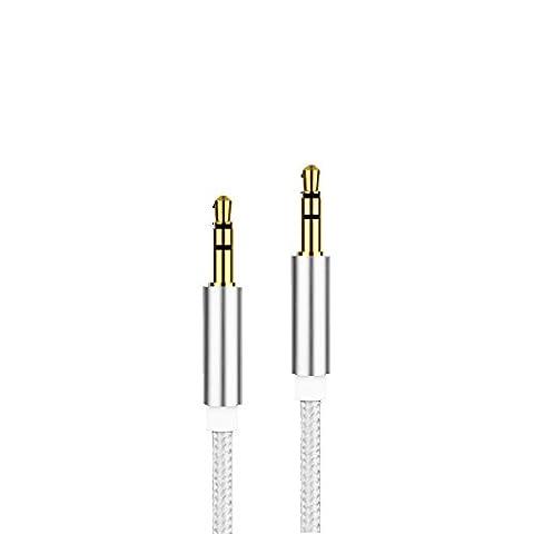 3,5-mm-AUX-Kabel verbesserte MyVigor geflochtene Universal (Silber) AUX-Kabel Audio Kabel 1m lang für Apple iPod Aux für iPhone iPad, Beats Kopfhörer, Autoradios, AUX-Kabel für Smartphones, MP3-Player und all Ihre Audio Media Entertainment. Siehe andere Farben (Civic Drum)