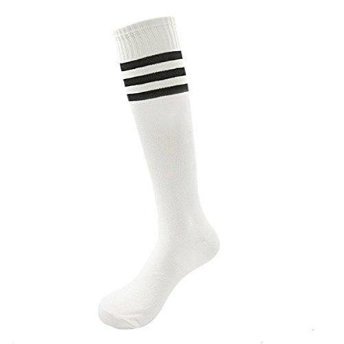 Skyeye Männer Dame Fußball-Socken,Mädchen Strümpfe,Damen Kniestrümpfe,Retro Jungen und Mädchen Sportsocken Zum Kinder,Blau und Rot Streifen Katze Stil size 35cm (Weiß B)