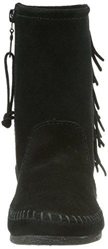 Minnetonka Side Fringe Wedge Boot Damen Halbschaft Mokassin Boots Schwarz (Black)
