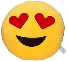Dhanu Creations 3 Emoji Plush Heart Eyes, Glasses and Flying Kiss Pillows (Yellow, DHC3)