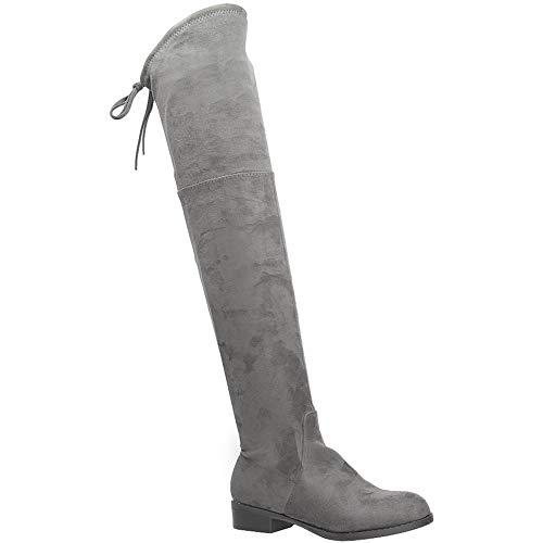Casu Damen Stiefel Winter Overknees mit Blockabsatz | Grau - Terri | EUR 39