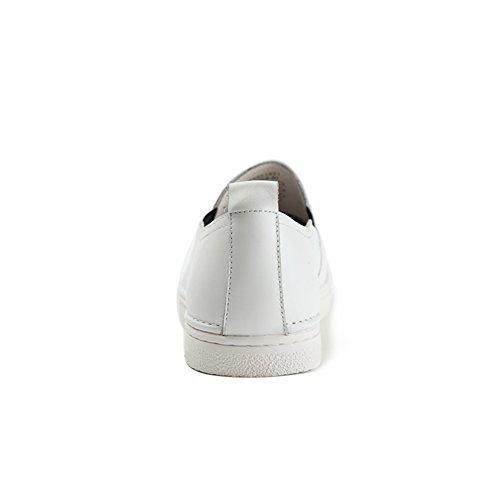 Autunno rotonda tappi shoes/Pedali flat scarpe Bianco