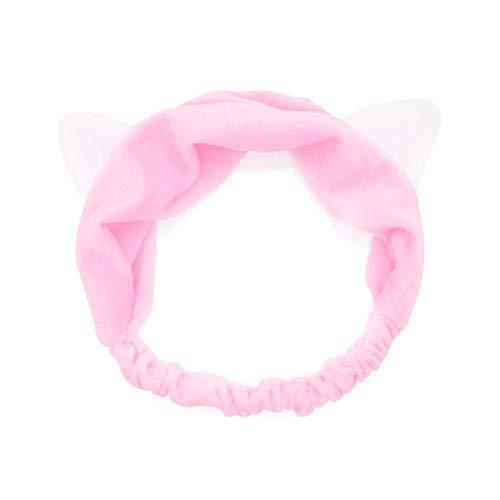CuteRose Women Elastic Cute Wash Face Hair Band 3-Pack Pink OS (Band Organizer Wall Mount)
