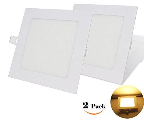 NRG Clever® SPA9WW, Packung mit 2 Stück, Deckeneinbauleuchten LED-Einbauleuchte 9W, Ultradünnem Platz 145mm x 145mm 810LM, Heiß Weiß 3000K, enthält die Transformatoren LED-Treiber 85-265Vac