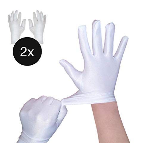 TK Gruppe Timo Klingler 2X Paar Set Handschuhe 100% Baumwolle Minnie Mouse Micky Maus weiß weis für Kostüm Micky für Damen Frauen Mouse Fasching Karneval (2X Paar Handschuhe weiß) (Weiße Kostüm Handschuhe)