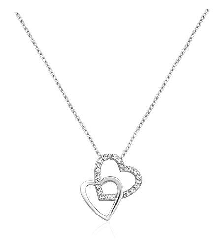 SOFIA MILANI Damen-Halskette Doppel Herz 925 Silber 50032