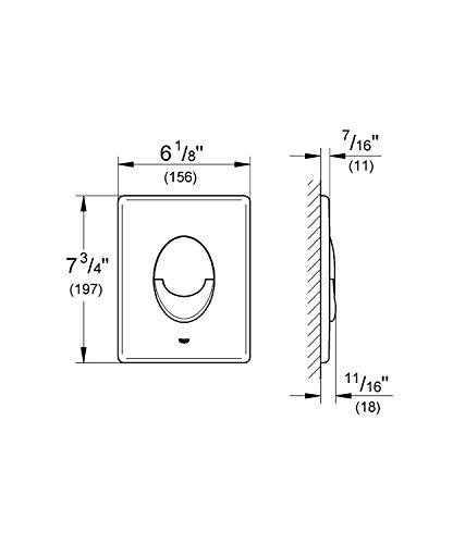 GROHE Skate Air Betätigungsplatte mit 2-Mengen- und Start-Stopp-Funktion für pneumatische Betätigung , senkrecht , chrom 38505000