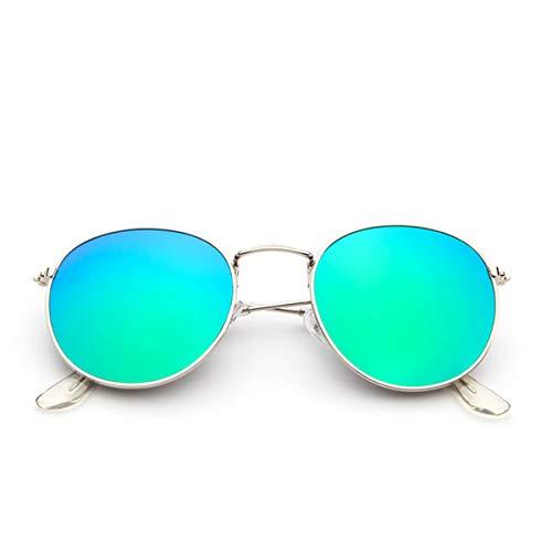 AIUIN Retro Vintage Sonnenbrille Polarisiert Mit Rundem Metallrahmen Für Frauen Und Männer (Grün Silberrahmen)