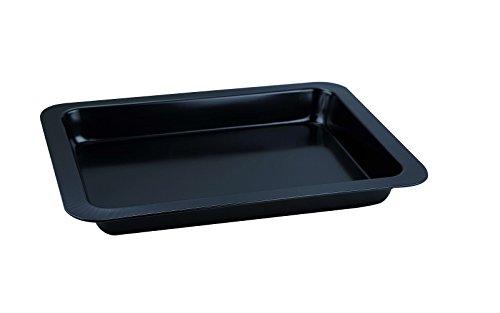 Backblech Bräter Bratenform Backform Carbonstahl 42 x 31,5 cm Ofenblech (Auflaufform, Marmorbeschichtung, Kuchenblech, Schwarz)