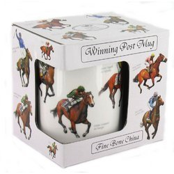 Winning Post Fine China Windsor Mug - Horse Racing Design, Famous Horses & Jockeys by The Leonardo Collection -