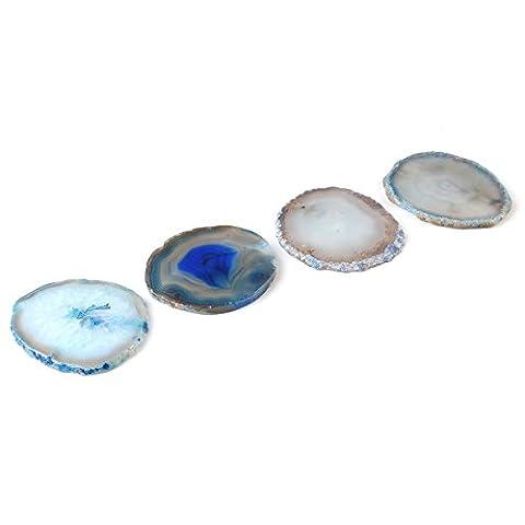 QGEM 4pcs/Set Dessous de Verre Bleu Rond en Pierre Agate Naturelle Décor Salon Table Mariage Fête Sous Tasse,Vase,Bouteille