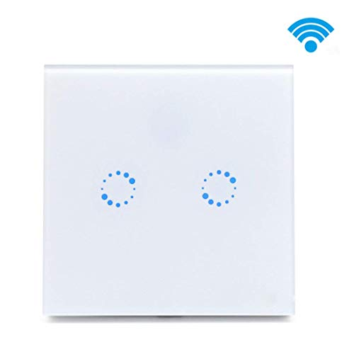 Lrifue 2-Gang WiFi Smart Light Switch with Alexa and Google Home Timing Function Tempered Glass Light Switch (Neutral Wire Needed!) - Smart Wire