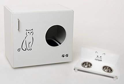 Hermesmoebel Katzenschrank Feline mit Futterstation Katzentoilette Katzenhaus Katzenhöhle