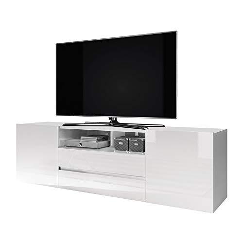 Selsey Bros - Meuble TV/Banc TV (137 cm, Blanc Mat/Blanc Brillant)
