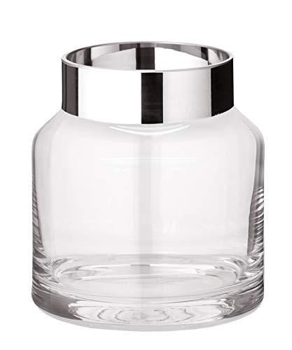 EDZARD Vase Gabi, mundgeblasenes Kristallglas mit Platinrand, Höhe 15 cm, Durchmesser 14 cm Platin Vase