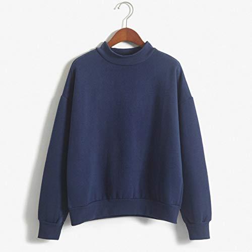 GQDP Winter Einfarbig Rundhals Langarm Samt Warmes Sweatshirt Damen Lose Hoodie Freizeitjacke Hoodie Damenbekleidung Sweatshirt Marine blau M (Yamaha Sweatshirt Marine)