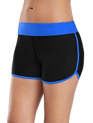 V FOR CITY Badehose Damen Badeshorts Kurze Schorts UV Schutz Schwimmen Sport Bikinihose Schwarz Hotpants M