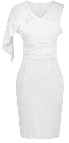 u-shot da donna una spalla pieghettato damigella d' onore abito da sera guaina Wiggle vestito White